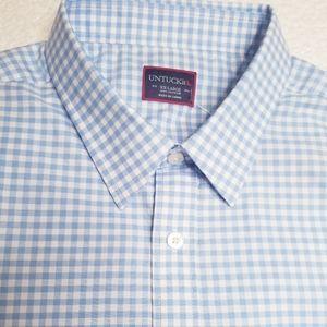 NEW UNTUCKit Greco Gingham Short Sleeve Shirt NWOT